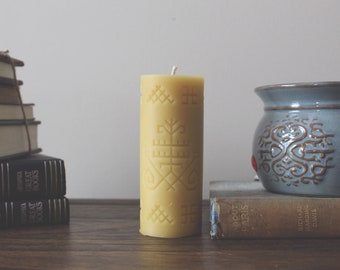 Austra Pure Beeswax Candle, Natural Candle, Tribal Candle, Ceremony Candle, Aesthetic Candle, Boho Style Candle, Inspiration Candle