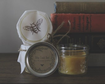 4oz Beeswax Candle In Mason Jar, Beeswax Candles, Pure Beeswax, Natural Candles, Handmade Candles, Beeswax, Honey Candles