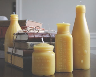 Set of Four Antique Bottles Beeswax Candles Set, Beeswax Natural Candles, Antique Candles, Bottle Candles, Honey Candles, Artisan Candles