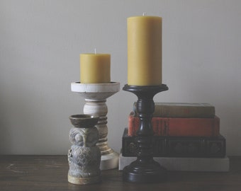 Set of Two Pure Beeswax Pillar Candles