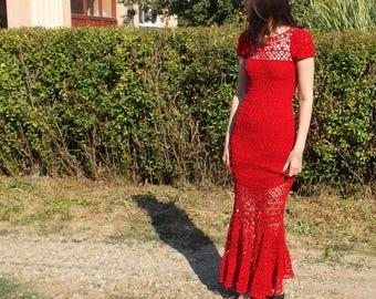 Crochet maxi dress  red crochet dress prom dress wedding dress lace wedding dress boho wedding dress bohemian wedding wedding gown