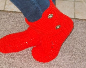 Red Knit Slippers, House Slippers, Knit Slipper Socks, Woollen Boot Slippers, Gift, House Shoes, Gift for Her felted boots knitted slippers,