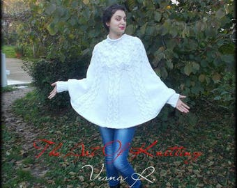 poncho knit poncho white poncho knitted poncho with braids Womens knitted cape poncho Hand knitted poncho bohemian clothing knit cape