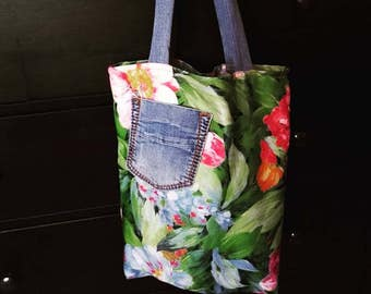 cotton bag Tote large flowers