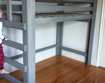 Solid Wood Loft Bed Queen Or Full Size Smooth Finish Etsy