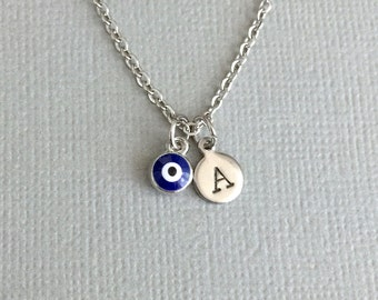 Personalized Mini Evil Eye Necklace, Monogram Necklace, Tiny Evil Eye, Protection Necklace, Hamsa Necklace, Sterling Silver, Dainty Evil Eye