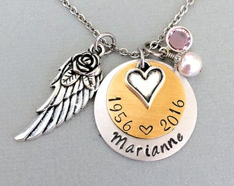 Birthstone Angel Wing Necklace, Mixed Metal, Name Necklace, Heart Charm, Remembrance Necklace, Memorial Necklace, Sympathy Gift, Mother