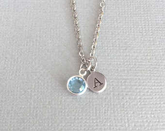 Personalized Tiny Initial Necklace, Monogram Necklace, Bridesmaid Necklace, Wedding Gift, Simple Necklace, Everyday Necklace, Dainty Disc