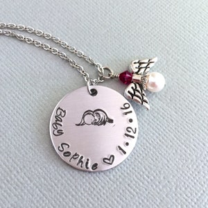 Infant Loss Remembrance Necklace Too Beautiful for Earth Gift for Mom Memorial Angel Wing Necklace Cross Necklace Twins Angel