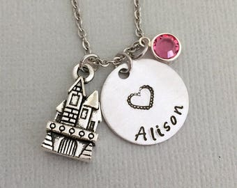 Personalized Palace Necklace, Princess Necklace, Little Girl Necklace, Name Necklace, Birthstone Necklace, Birthday Girl