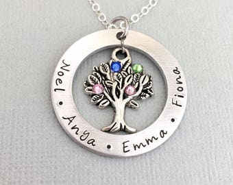 Women Custom Name Necklace Family Tree Of Life Necklaces Layered Disc Pendant Birth Stone Chain Gold Color Collares For Grandma Jewellery & Watches