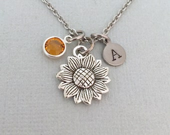 b97d171cb4 Personalised Sunflower Necklace, Flower Girl Gift, Bridesmaid Necklace,  Wedding Gift, Initial Necklace, Valentine's Gift, Gift for Her