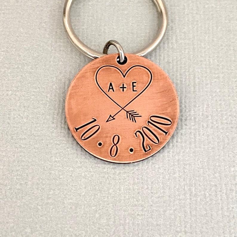 Steel Wedding Boyfriend Gift Copper Anniversary Husband Keychain 10 Year Anniversary 1 Year 6 Year Hand Stamped Anniversary Keychain