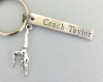 Double Sided Gymnastic Coach Keychain, Gymnastic Coach Gift, Gymnast Keychain, Coach Appreciation Gift, Gift for Coach
