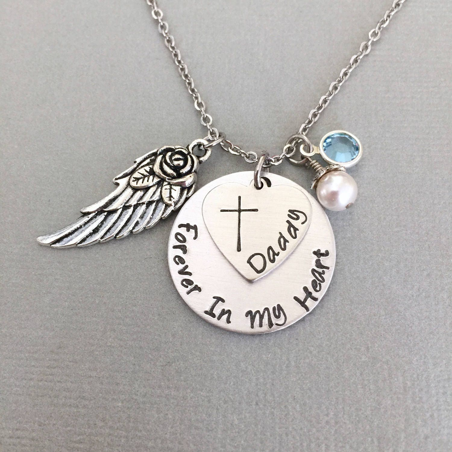 Personalized Memorial Necklace Angel Wing Remembrance Etsy