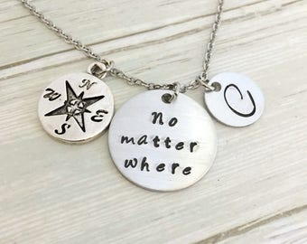 Personalised No Matter Where Necklace, Compass Necklace, Initial Necklace, Friendship Necklace, BFF Necklace, Long Distance Gift, AnesandEve