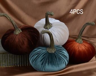 velvet pumpkins,4 pieces,beige velvet pumpkin,wedding decoration,home decor,chic decor,autumn decorations,fall centerpiece,wedding pumpkin