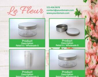 Photoshop Line Sheet Instant Download template - Le Fleur - by Great Idea Girl