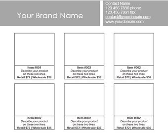 Microsoft Word - Line Sheet Instant Download template - Simple Floating9 - by Great Idea Girl