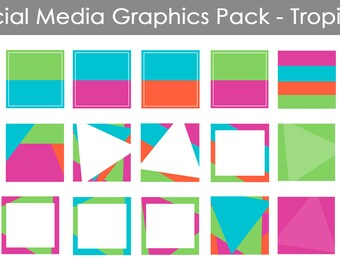 Social Media Graphics Template Pack - Tropical | Instagram | Facebook | Use with Canva or WordSwag | Social media templates