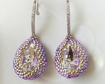 Lilac drop earrings, lilac earrings, pendant earrings. Made in Italy