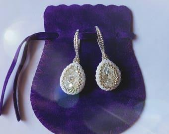 Pendant earrings, Swarovski drop earrings, white earrings