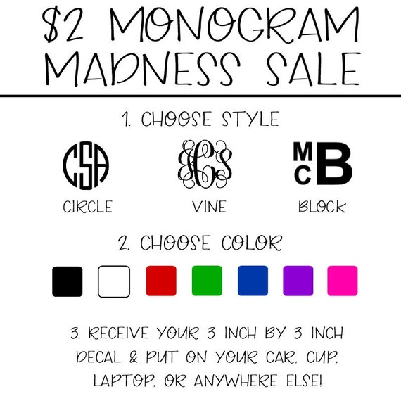 Monogram Madness Special Pricing Monogram Decal Free Etsy