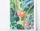Sloth Print, Sloth Gift, Jungle Print, Botanical Illustration, Plants Print, Childrens Prints, Childrens Decor, Nursery Decor,
