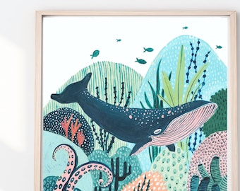 Whale Print, Whales, Whale Illustration,  Fish Print, Reef Print, Childrens Print, Childrens decor, Nursery wall art, Animal print
