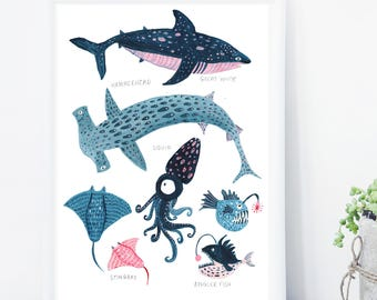 Whale Print, Whale Illustration, Hammerhead Print, Anglerfish Print, Reef Print, Childrens Print, Childrens decor, Nursery wall art