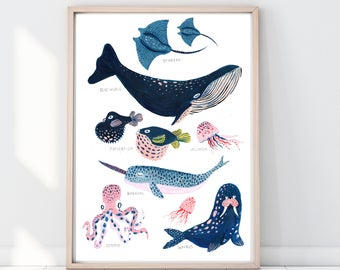 Whale Print, Whale Illustration, Narwhal Print, Pufferfish Print, Reef Print, Childrens Print, Childrens decor, Nursery wall art