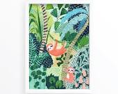Sloth / Jungle / Sloth Print / Botanical Illustration / Sloth Gift / Tropical / Safari/Botanical Print/Home Decor/Sloth Art/Nursery Wall Art