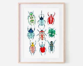 Garden Beetle Print, Insect Print, Nursery Wall Art, Bugs Print, Kids Room Decor, Animal Nursery, Bugs Art, Woodland Nursery, Gift for her