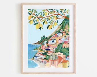 Positano, Amalfi Coast Art Print, Italy Art Print, Travel Gift, Travel Poster, Europe Print, Italian Coast, Italian Riviera, Housewarming