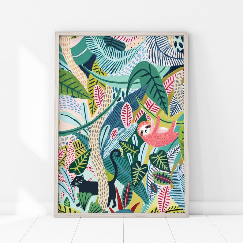 Sloth / Jungle / Sloth Print/Botanical image 0