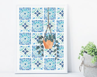 Moroccan Tiles Print, Botanical Print, Potted Plant Print, Leaf Print, Hanging basket print, watercolour print, Botanical illustration.