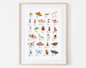 Insect Alphabet Print, Nursery Wall Art, Bugs Print, Children's Prints, Nursery Decor, Alphabet Poster, Kids Wall Art, Woodland Nursery