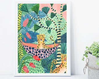 Leopard Illustration, Rainforest Illustration, Leopard Print, Jungle Print, Plants Print, Childrens decor, Nursery wall art, Animal print