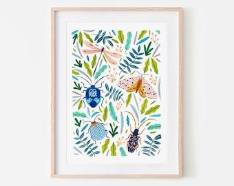 Beetle, Moth, Dragonfly and Butterfly Print, Insect Print, Nursery Wall Art, Bugs Print, Kids Room, Animal Nursery, Bugs Art, Nursery Decor