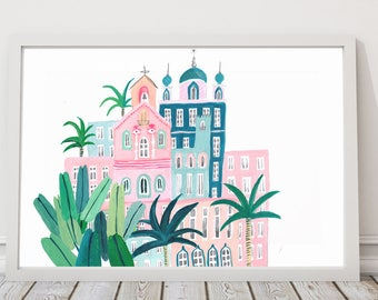 Moroccan Houses Print, House Illustration Print, Colourful House Print, Tropical Print, Gifts for Her, Jungle Print, childrens decor
