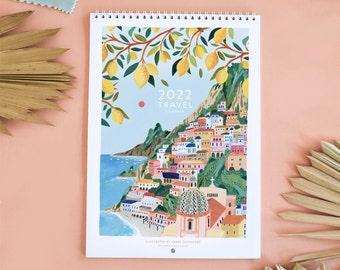 2022 Travel Wall Calendar, Monthly Calendar, Illustrated 12 Month Calendar, Travel Gift, Wall Decor