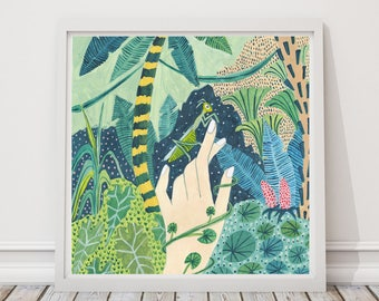 Praying Mantis print, Praying Mantis Illustration, Rainforest Illustration, Jungle Print, Childrens decor, Nursery wall art, Animal print