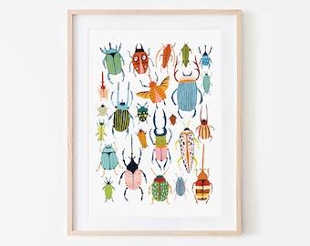 Beetle Print, Insect Print, Nursery Wall Art, Bugs Print, Kids Room Decor, Animal Nursery, Bugs Art, Woodland Nursery, Gift for Him