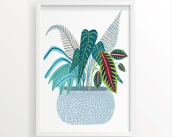 Potted Plant Print, Jungle Print, Botanical Illustration, Plants Print, Childrens Prints, Childrens Decor, Nursery Decor