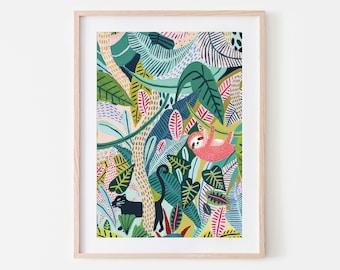 Sloth / Jungle / Sloth Print/Botanical Illustration/Panther/Sloth Gift/Tropical/Safari/Botanical Print/Home Decor/Sloth Art/Nursery Wall Art