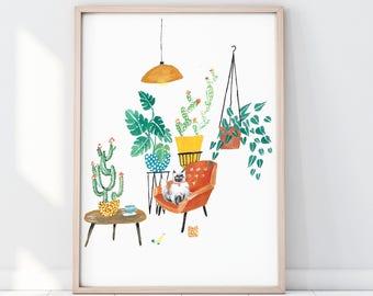 Cat Potted Jungle Print, Indoor Plant Print, Monstera Leaf print, Cactus Print, Botanical Illustration, Botanical Surface Pattern