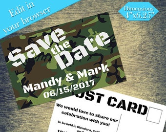 Military Style Save The Date, Printable Template, Wedding Printable, DIY Wedding, Editable, Printable