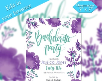Save The Date, Printable Template, Water Color invite, Wedding Printable, DIY Wedding, Editable, Printable Templett
