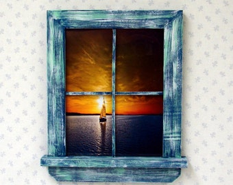 Unique Handmade Window Picture Frame, Blue White Green, Country, Distressed, Beach Wall Decor (WB130)