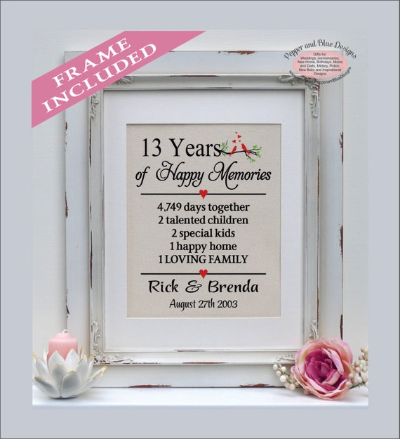 13th Anniversary 13 Years Married 13 Years Together Gift Etsy